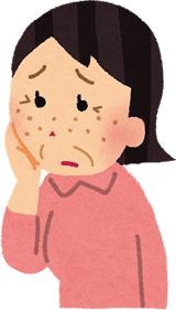 顔のシミやしわでお悩みの女性イラスト